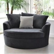 Red Barrel Studio Roquefort Cuddler Barrel Chair; Black