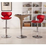Roundhill Furniture Adjustable Height Swivel Bar Stool (Set of 2); Red