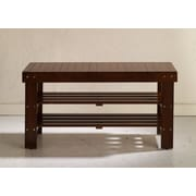 Roundhill Furniture Solid Wood Entryway Bench; Cherry
