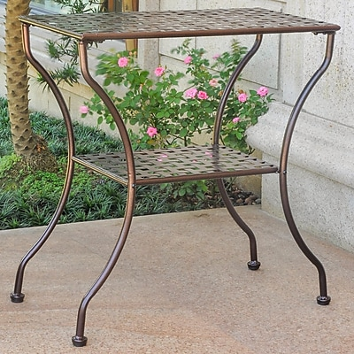 International Caravan Mandalay Iron 2-Tier Patio Table; Hammered Bronze