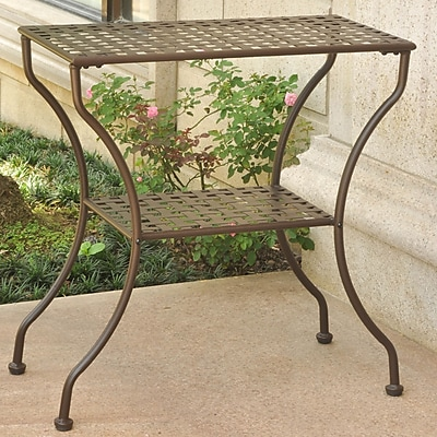 International Caravan Mandalay Iron 2-Tier Patio Table; Matte Brown