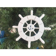 Handcrafted Nautical Decor 6'' Decorative Ship Wheel with Anchor Christmas Tree Ornament; White