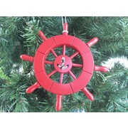 Handcrafted Nautical Decor 6'' Decorative Ship Wheel w/ Anchor Christmas Tree Ornament; Red
