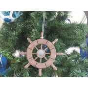 Handcrafted Nautical Decor 6'' Decorative Ship Wheel with Seashell Christmas Tree Ornament; Wooden