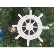 Handcrafted Nautical Decor 6'' Decorative Ship Wheel Christmas Tree Ornament; White