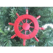 Handcrafted Nautical Decor 6'' Decorative Ship Wheel Christmas Tree Ornament; Red