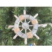 Handcrafted Nautical Decor 6'' Decorative Ship Wheel with Seashell Christmas Tree Ornament; Grey