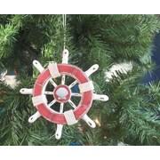 Handcrafted Nautical Decor 6'' Decorative Ship Wheel w/Seashell Christmas Tree Ornament; Red / White