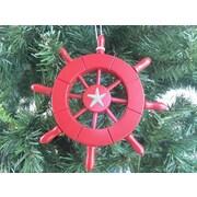 Handcrafted Nautical Decor 6'' Decorative Ship Wheel w/ Starfish Christmas Tree Ornament; Red