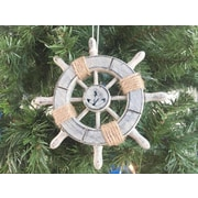 Handcrafted Nautical Decor 6'' Decorative Ship Wheel w/ Anchor Christmas Tree Ornament; Grey