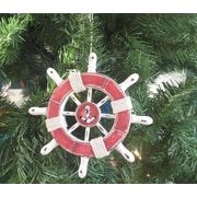 Handcrafted Nautical Decor 6'' Decorative Ship Wheel w/ Anchor Christmas Tree Ornament; Red / White