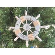 Handcrafted Nautical Decor 6'' Decorative Ship Wheel Christmas Tree Ornament; Grey
