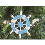 Handcrafted Nautical Decor 6'' Decorative Ship Wheel Christmas Tree Ornament; Light Blue / White