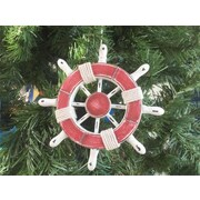 Handcrafted Nautical Decor 6'' Decorative Ship Wheel Christmas Tree Ornament; Red / White