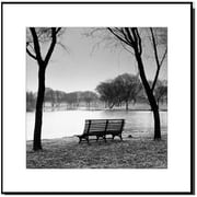 3 Panel Photo Wood Mounted Park Bench at the Lake Framed Photographic Print