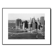 3 Panel Photo Wood Mounted Brooklyn Bridge Downtown View Framed Photographic Print
