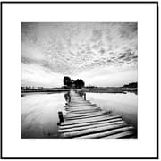 Elementem Photography Wood Mounted Pier at the Lake #1 Framed Photographic Print