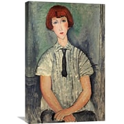 Global Gallery 'Young Girl In a Striped Shirt' by Amedeo Modigliani Painting Print on Wrapped Canvas