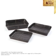 Hip Vintage 3 Piece Belford Leather Tray Set
