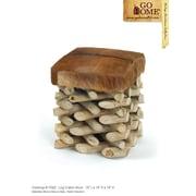 Hip Vintage Log Cabin Leather Stool