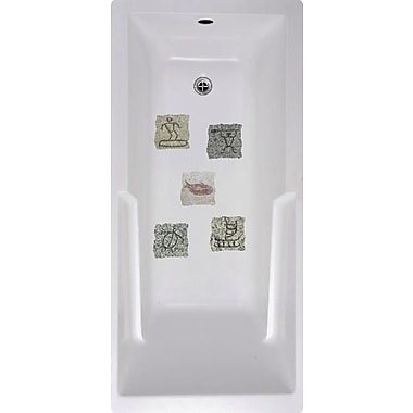 No Slip Mat by Versatraction Island Stone Tiles Bath Tub and Shower Treads (Set of 5)