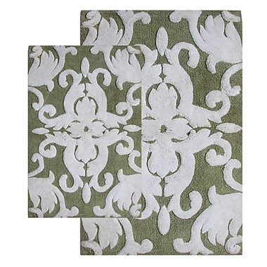 Chesapeake Iron Gate 2 Piece Bath Rug Set; Green / White