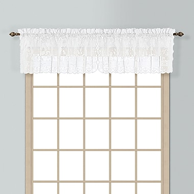 United Curtain Co. Windsor Rod Pocket Scalloped 56'' Curtain Valance; White