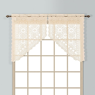 United Curtain Co. New Rochelle 2 Piece 56'' Curtain Valance Set; Natural