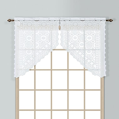 United Curtain Co. New Rochelle 2 Piece 56'' Curtain Valance Set; White