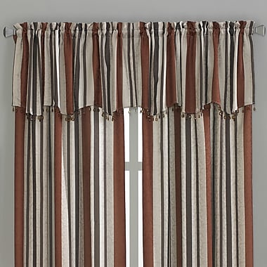 CHF Mercury Stripe Scallop Curtain Valance; Spice