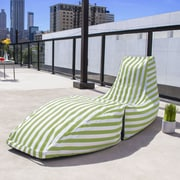 Jaxx Prado Outdoor Striped Bean Bag Chaise Lounge Chair; Lime Stripe
