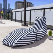 Jaxx Prado Outdoor Striped Bean Bag Chaise Lounge Chair; Navy Stripe