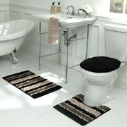 Bath Frieze Deliso Stripe Shag 3 Piece Bath Set; Chocolate