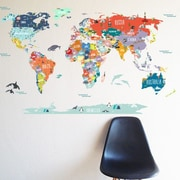 The Lovely Wall Company World Interactive Map Wall Decal