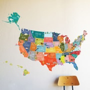 The Lovely Wall Company US of A Interactive Map Wall Decal