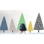 The Lovely Wall Company Hand Sketched Trees Wall Decal; Navy / Mustard / Green