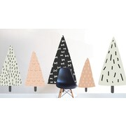 The Lovely Wall Company Hand Sketched Trees Wall Decal; Cream / Black / Pink