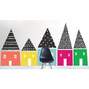 The Lovely Wall Company Hand Sketched Houses Wall Decal; Pink / Aqua / Black / Green