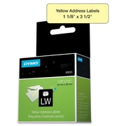 "Dymo® 30255 1 1/8"" LW Address Labels, Yellow, 130/Roll"