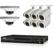 Q-See® QC838-8CV-3 Wired 8-Channel HD NVR with 8 x 3MP Dome Cameras, Network Video Recorder, 3TB, Black/White