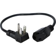 "QVS® PPRT-ADPT-4PK 16"" NEMA 5-15P to NEMA 5-15R 90 deg Flat-Plug OutletSaver AC Power Adaptor, Black"