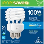 Globe T2 CFL Energy Saver Light Bulb, 23W, Cool White, 2/Pack