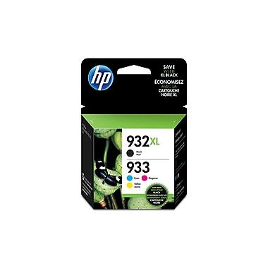 HP 932XL High Yield Black & 933 Cyan, Magenta and Yellow Original Ink Cartridges, 4/Pack Combo (N9H62FN)