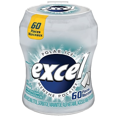 Excel Polar Ice Sugar-Free Chewing Gum, 60/Pack