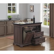 Bell'O The Chef Kitchen Island with Granite Top, Weathered Oak  (KI5621-48-PO22)