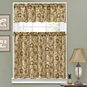 Traditions by Waverly Navarra Floral 52'' Valance and Tier Set; Antique