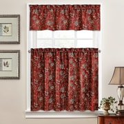Traditions by Waverly Navarra Floral 52'' Valance and Tier Set; Crimson