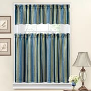 Traditions by Waverly Stripe Ensemble 52'' Valance and Tier Set; Porcelain