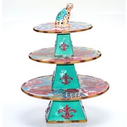 Tracy Porter Magpie 3-D Leopard Centerpiece 3 Tiered Stand