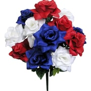 AdmiredbyNature Artificial Blooming Veined Satin Rose Flowers Bush; Red/White/Blue